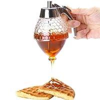 Caratteristiche: Prodotto di alta qualità.  Dispenser per miele in acrilico, ideale per la famiglia.  Il set si compone di tre pezzi: un coperchio, un contenitore per il miele e un supporto in vetro sintetico.  Questo dosatore per miele rilas...