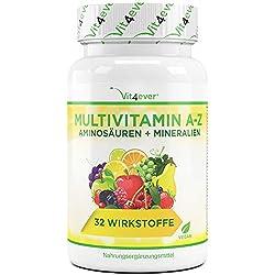 Multivitamin A-Z - 120 Tabletten - 32 Vitamine - Kombination aus Mineralien + Aminosäuren + Spurenelementen + Antioxidantien - Laborgeprüft - Vegan - 120 Tage Versorgung - Täglich nur 1 Tablette
