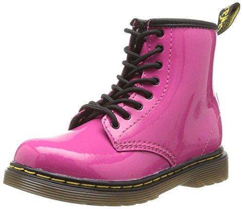 Dr Martens Delaney Rose Patent 8 eyelets Kids Cuir Zip Bottes