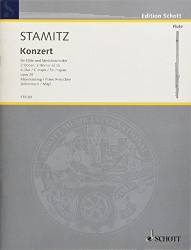 Konzert G-Dur: op. 29. Flöte und Streichorchester, 2 Oboen, 2 Hörner ad libitum. Klavierauszug mit Solostimme. (Edition Schott)