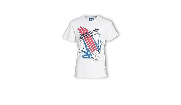 Tshirt Vintage F96163 Vente Classic Blanc Adidas Basketball