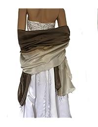 LadyMYP© Außergewöhnliches 80cm x 180cm Stola Seidenschal Schal mit kontinuierlichem Farbverlauf mit 40% Seide & 60% Viscose