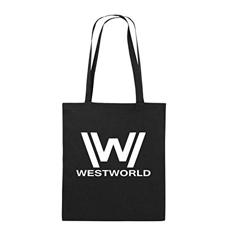 Comedy Bags - WESTWORLD - LOGO - Jutebeutel - lange Henkel - 38x42cm - Farbe: Schwarz / Silber Schwarz / Weiss