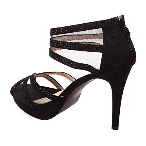La Modeuse Sandales Scintillantes Grande Taille à Talon Fin et Plateforme Noir