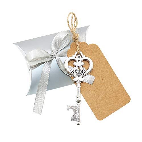 BITEYI Skelett Schlüssel Flaschenöffner Hochzeitsdekoration mit Umbau-Karten und Süßigkeit Kasten für Partys,rustikale Dekoration,30 Stück (Silber#1) -