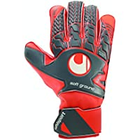 UHLSPORT - AERORED SOFT PRO - Gant gardien football - Paume Latex Soft - Coupe Classique - gris foncé/rouge fluo/blanc