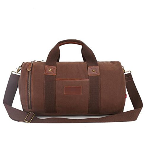 Unisex Outdoor Freizeit Retro Große Kapelle Canvas Duffel Bag Neigung Schultertasche Multicolor Brown