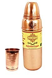 IndianArtVilla Thermos Design Copper Bottle with 1 Glass Tumbler, Drinkware & Tableware, 2 Pieces