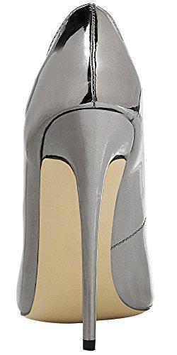 MONICOCO Übergröße Damen High Heels Mirror Pointed-Toe Pumps Silbergrau