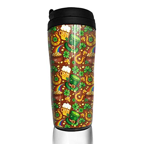 Travel Coffee Mug St Patrick S Day 12 Oz Spill Proof Flip Lid Water Bottle Environmental Protection Material ABS