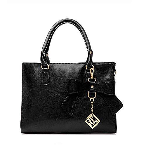 MUXIN Damenhandtasche,Frau Handtasche PU Retro Umhängetasche Bogen Umhängetasche Weibliche Tasche,Black
