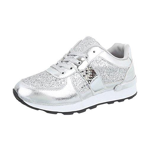 Ital-Design Sneakers Low Damen-Schuhe Sneakers Low Sneakers Schnürsenkel Freizeitschuhe Silber, Gr 36, G-102-