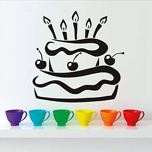 mmzki PVC Wasserdichte Küche Kirsche Geburtstagstorte Mit Kerzen Wandaufkleber Modernes Design Geschenk Vinyl Klebende Tapete Wohnkultur 59 cm X 59 cm (Mit Schrank Türen Glas Kirsche)