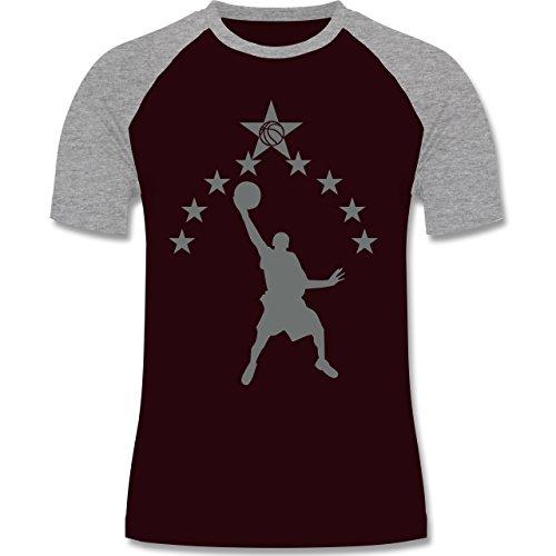 Basketball - Basketball - zweifarbiges Baseballshirt für Männer Burgundrot/Grau meliert