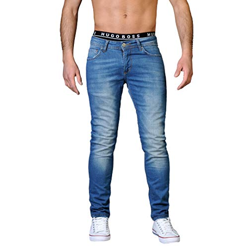 Gelverie Herren Hose Jeans Slim Fit I Hochwertig I Denim für Männer, Medium Blue Denim Used, W33 / L34 -