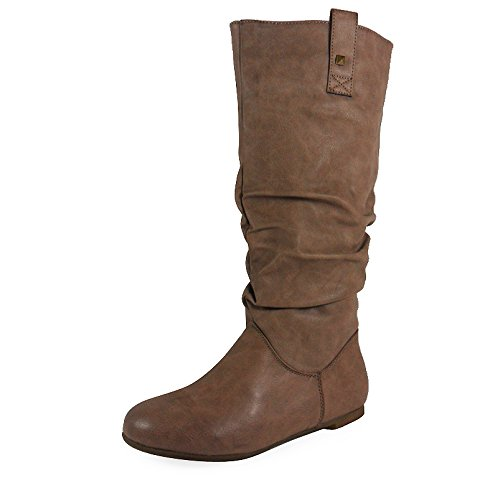 WOMENS-PIXIE-MID-CALF-ROUCHED-FLAT-PULL-ON-KNEE-LONG-LADIES-SLOUCH-BOOTS-SIZE-3-8