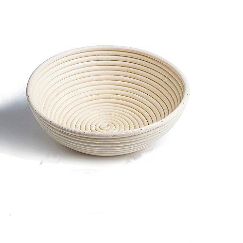 DaoRier Gärtopf für Brotteig, im traditionellen Ratan-Banneton-Stil, rund, 18cm, natur
