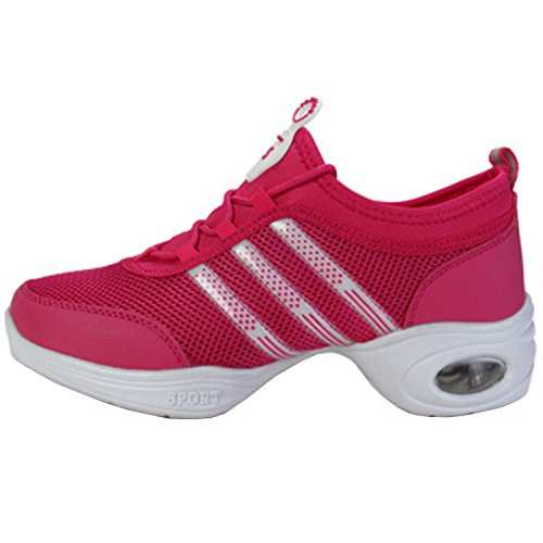 Oasap Women's Fashion Lace up Mesh Dance Sneakers Fuchsia