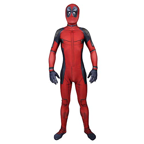 AKCHIUY Deadpool Kostüm Kinder, Superheld Halloween Fasching Zubehör Party Kostüme Film Costume Onesies,Man-XL