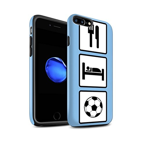 STUFF4 Matte Antiurto Custodia/Cover/Caso/Cassa del Telefono per Apple iPhone 7 Plus / Calcio/Blu / Mangiare/Sonno disegno