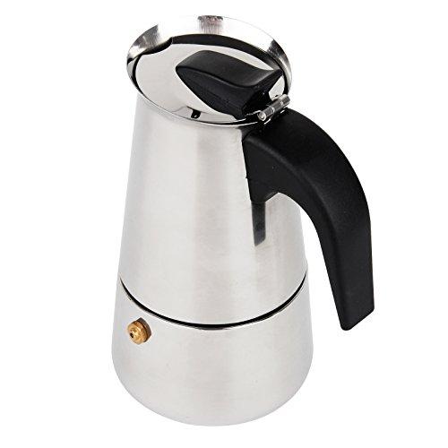 Baytter, Premium Moka, Caffettiera in acciaio inossidabile, macchina per espresso, per fornelli a gas o elettrici, ideale per Cappuccino, Latte, Espresso, 4 tazze
