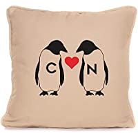 Valentines Day Or Wedding Anniversary Gift For Couples | 'Initial Penguin Love Heart' Throw Pillow | 18x18 Inch Cushion Pillow with Pad | Gift For Him Her