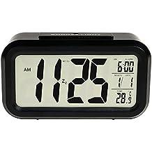 MFEIR® batteriebetriebener LED Digital-Wecker mit extra großem Display, Snooze, Datumsanzeige, Temperatur und Sensor Licht (schwarz)