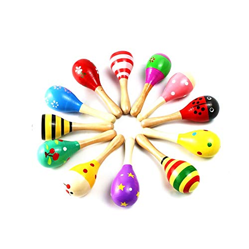 random Color Pattern Conscientious Wood Sand Hammer Rattle Early Educational Instrument Music Toy For Infants And Children Maraca