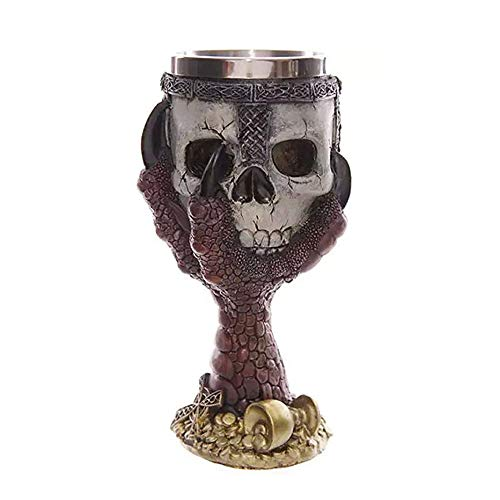 Wawer Skelettarm Kelch / 3D Wolf Becher Kelch/Ezeso Harz Kaffee Tasse Edelstahl Tee Tasse/LED Halloween Kelch Becher Glühendes Weinglas (D)