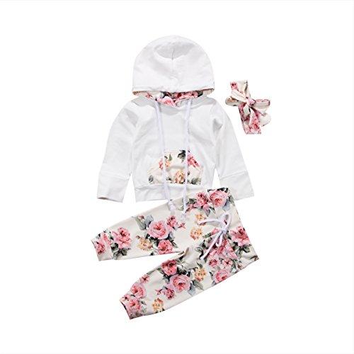 Kleinkind Baby Mädchen Baumwolle Outfit Set für 0-24 Monate Langarm Rose Hoodie Floral Lange Hose Stirnband 3 Bilder (0-6 Monate, Weiß)