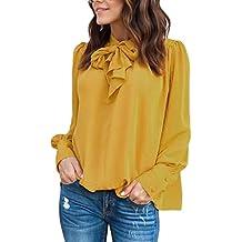 Camisa mujer ❤ Amlaiworld Blusa sexy de gasa de manga larga de mujer con cuello