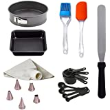 Kosh Cake Decorating Tools-NonStick Square and Round Mould/Silicone Brush and Spatula/Measuring Spoon/5Pcs Nozzle with Icing Bag/Palette Knife Combo Set