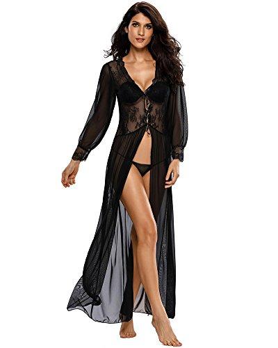 Romacci Femmes Sexy Lace Robe Pure Lingerie Longue Robe Florale col V Festonné sous Vêtement de Nuit Vêtements de Nuit Noirs
