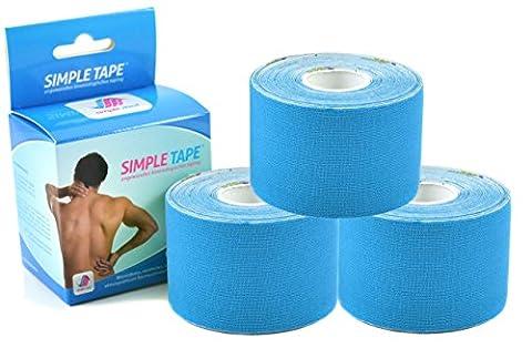 3x Original SIMPLE MED PREMIUM Kinesiologie Tape Rolle BLAU - elastische Physio tape Bandage für Sport, Medizin und Freizeit - 100% Baumwolle, wasserresistent, optimierte Klebeformel. Rolle: 5m x
