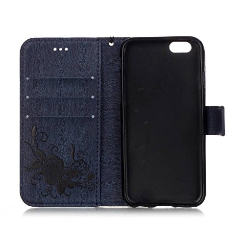 Uming® Embossing Prägung Blumen Blüte Schmetterling Muster PU Kasten Fall Holster Abdeckung Hülle Case ( Red Butterfly - für IPhone 6 6S IPhone6S IPhone6 ) Artificial Künstlich Flip mit Bracket Standp Dark Blue Butterfly