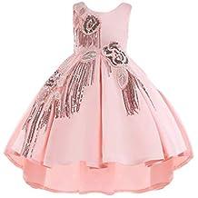 Vestiti Bambina Cerimonia Eleganti Invernali Senza Maniche Vestito Dietro E  Corta Davanti Abito da Sposa Principessa b607889bb2e