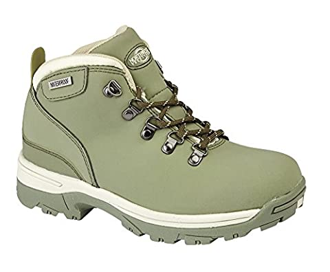 LADIES TREK LEATHER LIGHTWEIGHT WATERPROOF, WALKING/HIKING/TREKKING BOOT. (UK 5, Green)