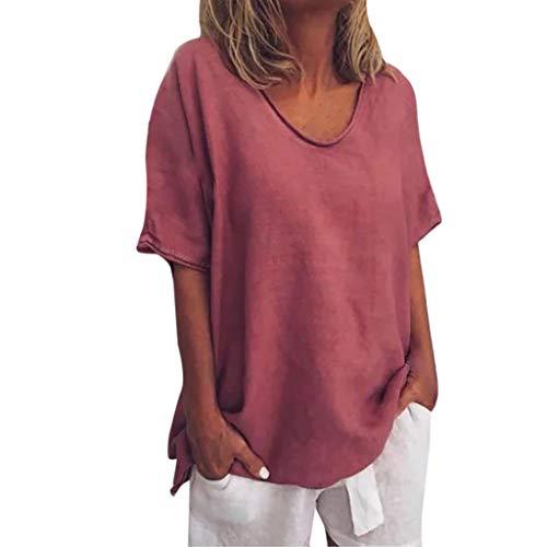 Floweworld Damen Plus Size Shirts Baumwolle Leinen Tunika Tops Sommer Solide Oansatz Kurzarm Freizeithemd Bluse