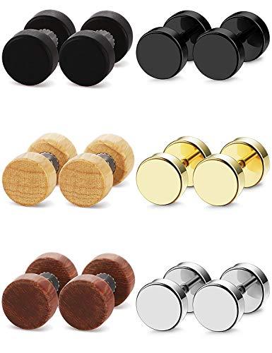sailimue 6 Paar Edelstahl Holz Ohrstecker Ohrringe für Männer Frauen Barbell Piercing Ohrringe 6 MM 8 MM