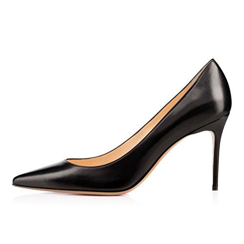 EDEFS Femmes Artisan Fashion Escarpins Classiques Pointus Chaussures à talon haut de 85mm Noir Noir Mat