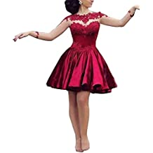 Mujer Vestido de Fiesta Corto para Boda Vestido de Danza Manga Barga Vestido de Cóctel Vino Rojo L