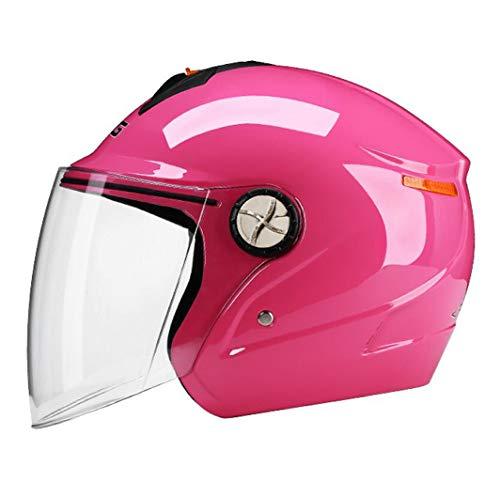 FEIYUESS Helm Motorrad Full Face ECE Helm Racing Helm HD Anti-Fog-Objektiv Mit Sonnenblende Männer Und Frauen Jahreszeiten Hard Hat (Farbe : Pink)
