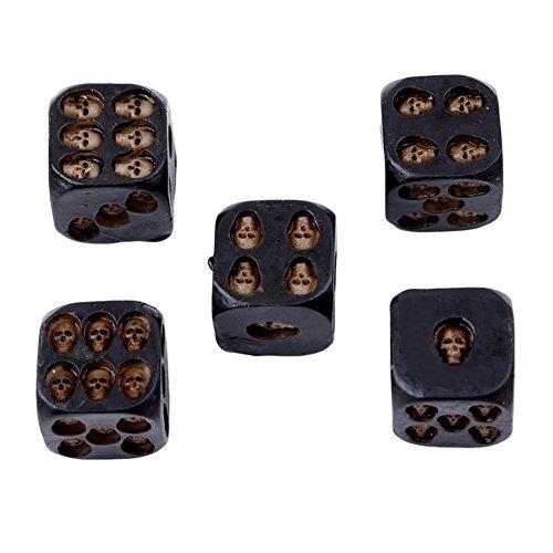 Gfjhgkyu 5 Stücke Kreative 6 Seitige Skeleton Schädel Harz Würfel Halloween Festival Bar Spiel Spielzeug