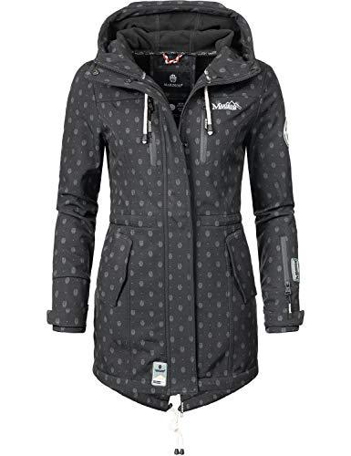 Marikoo Damen Softshell-Jacke Outdoorjacke Zimtzicke Schwarz Dots Gr. XS
