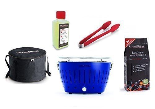 LotusGrill Kit de Démarrage 1x LotusGrill Ultra Bleu marine édition limitée),1x Pinces de grill Rouge,1x Charbon de bois de hêtre 1kg,1x Pâte brûlante 200ml,1x sac de Transport