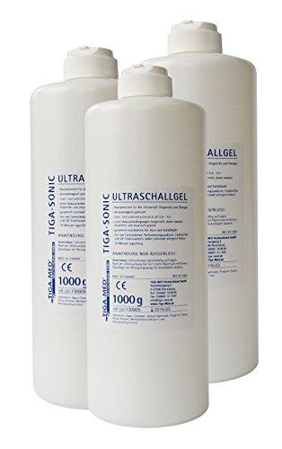 1 Liter Gel (Ultraschallgel 1 Ltr. 3er Set (= 3 Flaschen) Kontaktgel Sono- Ultraschall- Gel 1000ml Leitgel Tens AB Gym Gleitgel Marke: Tiga-Med)