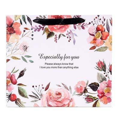 SMHILY Blumendruck Papier Geschenk Tasche mit Griff Schöne Kleidung Präsentieren Taschen Paket Dekor Birthday Party Supplies 3 Größe Großhandel