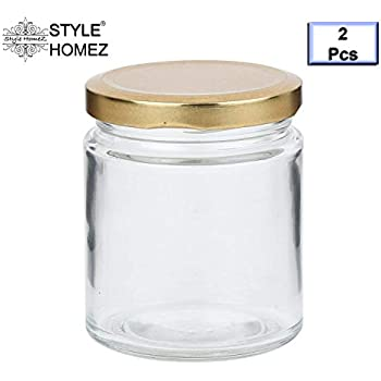 Style Homez Glass Jar with Metal Golden Color Lid Air Tight Rust Proof Cap, Capacity 300 ML or 150 Grams, 2 pcs