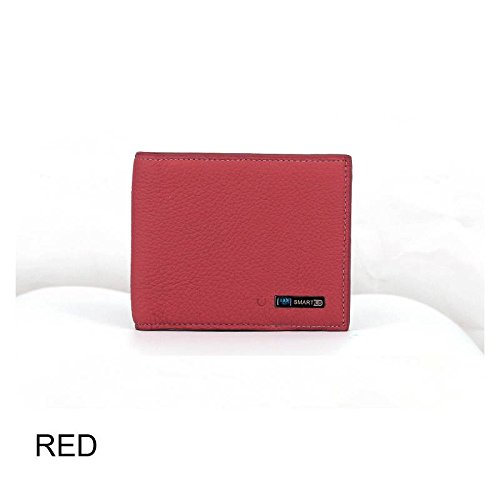 Haolv Cartera Inteligente, Carteras de Cuero para Hombre, Cartera Inteligente Bluetooth Anti Lost Finder Localizador GPS Tracker,Red