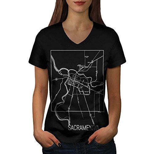 Sacramento Karte Mode Groß Alt Stadt Damen Schwarz S-2XL T-shirt   Wellcoda Schwarz